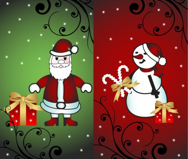 Christmas Santa Claus card with santa and snowman illustration about Holiday card