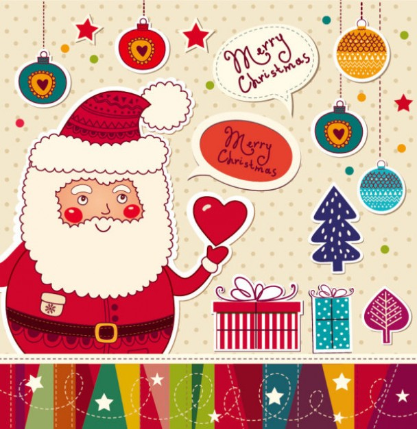 Christmas Santa Claus cartoon stickers background material about holiday Christmas elements like tre