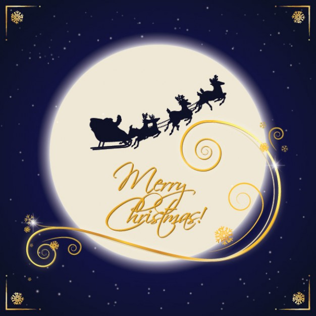 Christmas santa Claus sleigh moonlight about Holiday North Pole