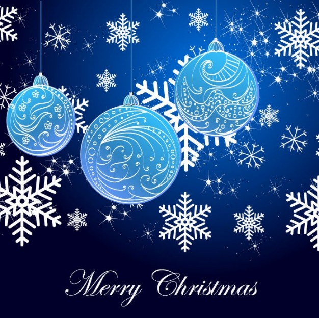Christmas snowflake Holidays background and blue christmas balls arounded with Decorations