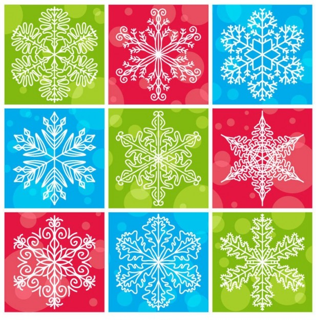 Christmas snowflakes with colorful christmas background collection about Holidays Snow