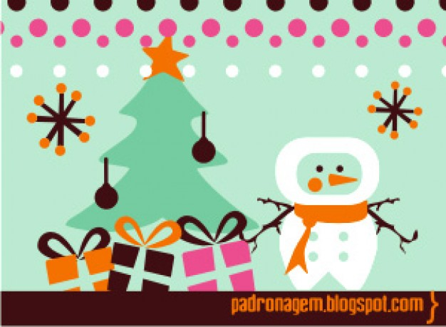 Christmas Snowman and tree cartoon about Christmas tree pattern