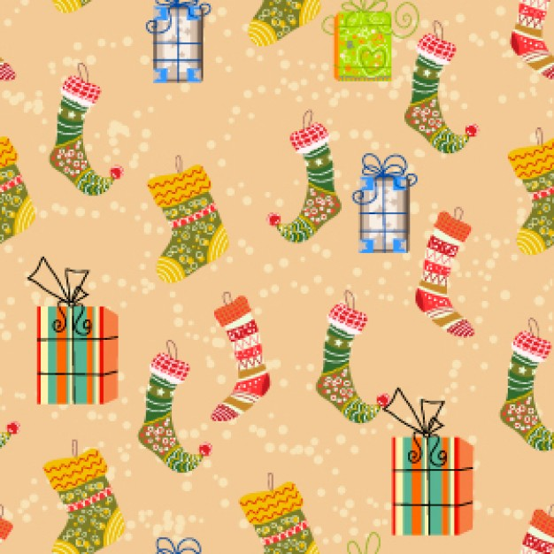 christmas socks and boxes pattern with earth yellow background