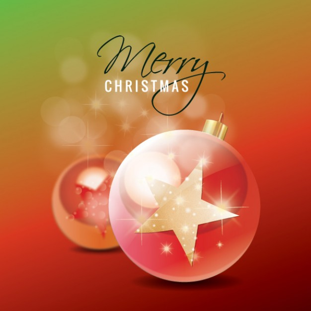 christmas star ornaments with 3D balland pink background