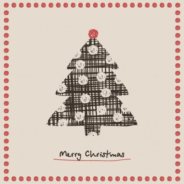 christmas tree card graphic with red dots border