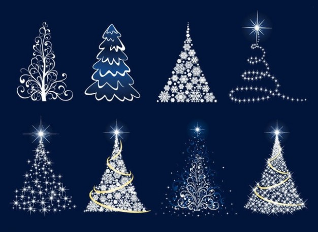 christmas tree graphics made of light lamp with different style