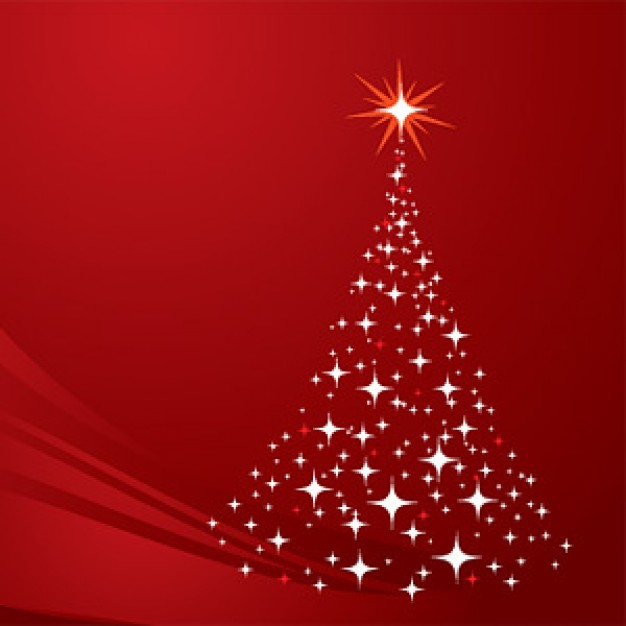Christmas tree made of star light with red background about Holidays Holly and Ivy