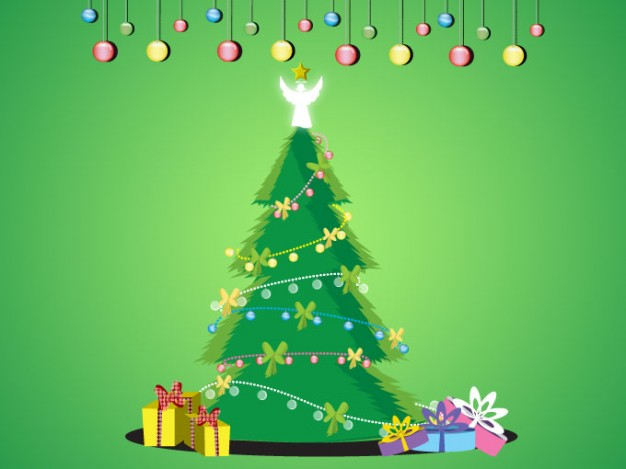 christmas tree set with gift box and balls over green background