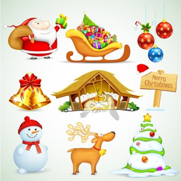 Christmas tree stlyish design elements set about Santa Claus deer snowman ball Horticulture