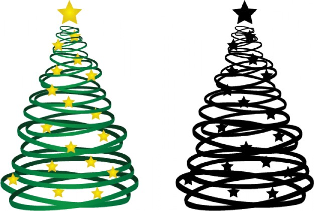 christmas trees made with ribbons of doodle style