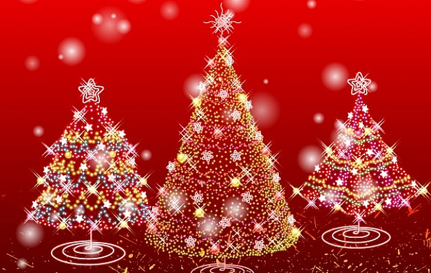christmas trees with lights over red background