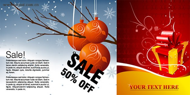 Christmas winter Gift discount sales and gift pattern material about shopping pattern