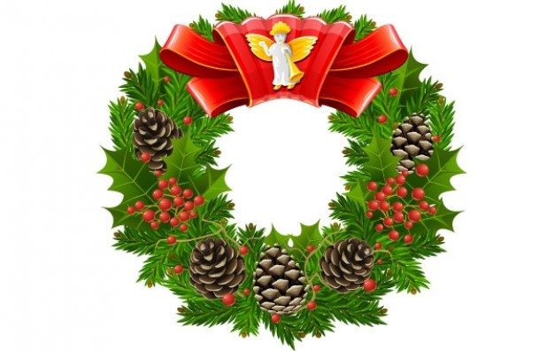 Christmas wreath about Holiday Conifer cone with pinecone ribbon