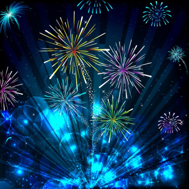 colorful halo background material with fireworks and blue radiant