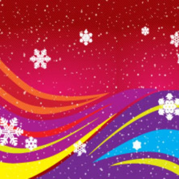 colorful wave winter colored art lined on red background
