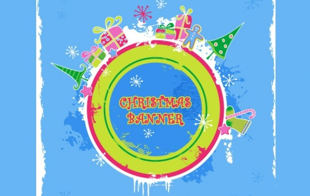 cute candy colored christmas banner with colorful circle arounded with Christmas elements