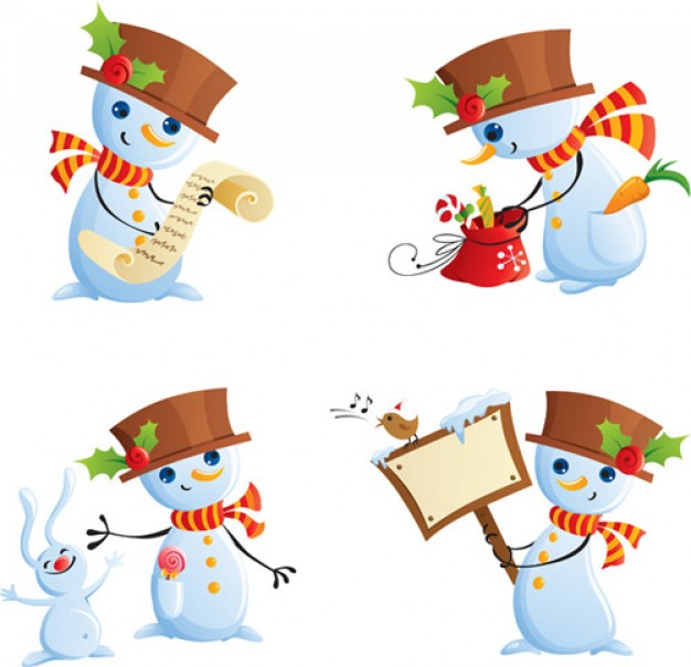 cute Christmas snowman with lable and cute coloring