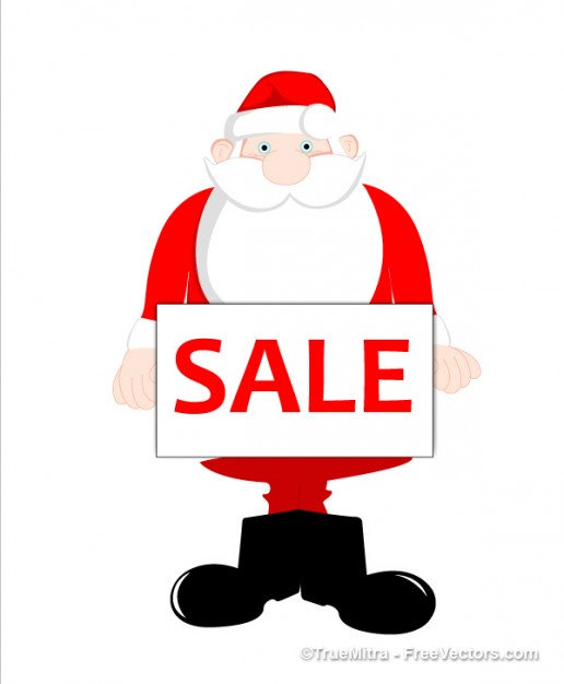 cute santa holding sale tag front view