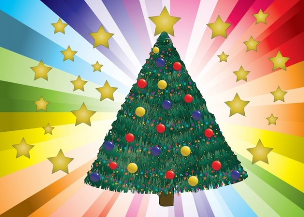 decorated christmas tree with colorful sunburst