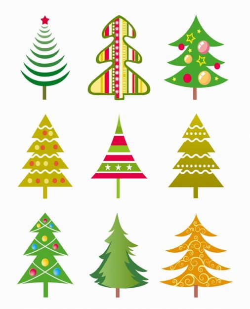 different Christmas tree illustration set about Christmas elements