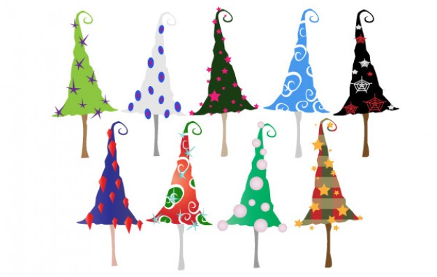 different color Christmas tree colorful Christmas trees with swirl tail about Tree Horticulture