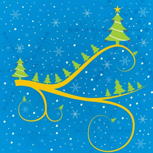 dreaming christmas tree greeting card with snowflakes and blue background