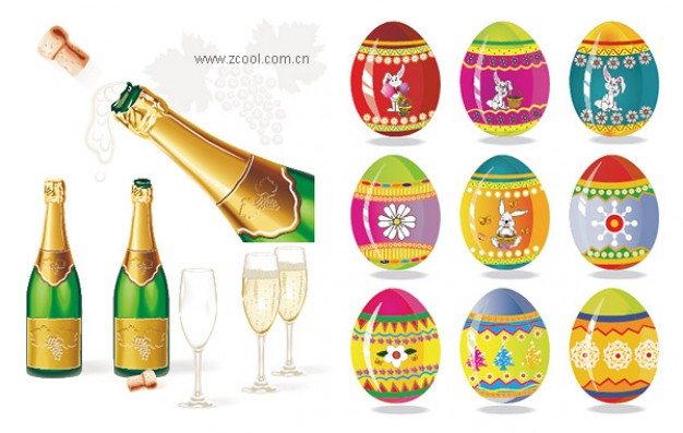 Easter of Champagne and easter eggs about Easter Bunny Sparkling wine