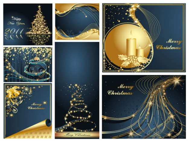 elegant christmas backgrounds in golden and blues