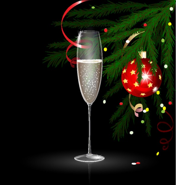 elegant Christmas card template with goblet ball and pine