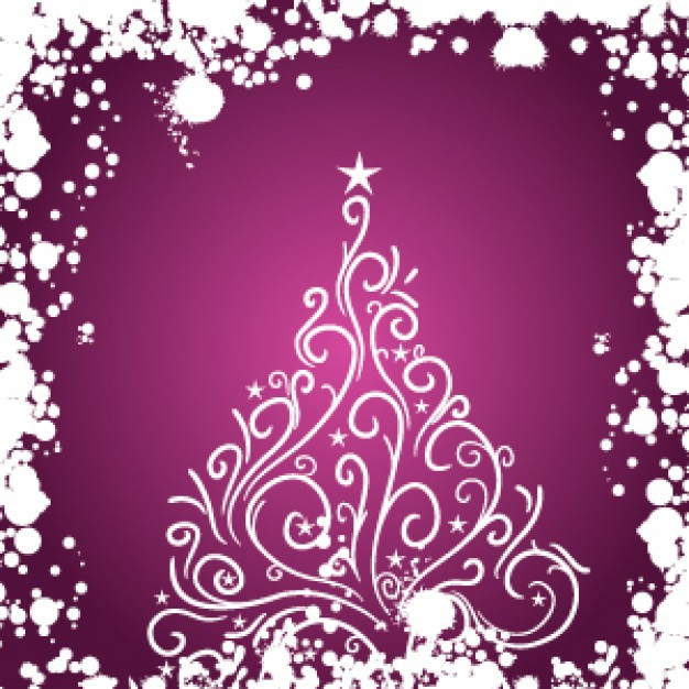 elegant christmas illustration with purple background for Christmas card design