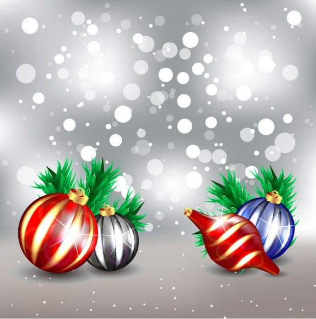 frosty christmas design graphic with colorful balls