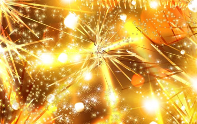 golden christmas background with firework