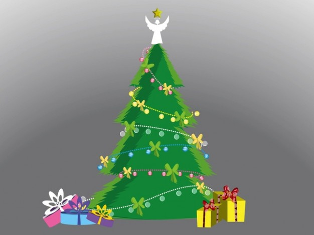 gr decorative christmas tree arounded with presents box