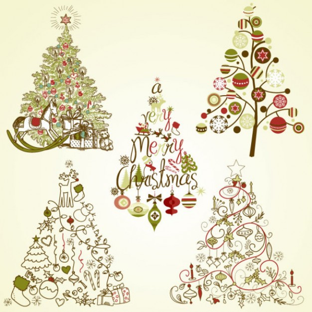 green yellow Greeting card elegant Christmas tree illustrator material about Shopping Stationery