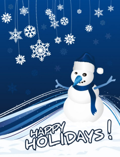 Greeting card snowman Christmas greeting card about blue background Christmas elements