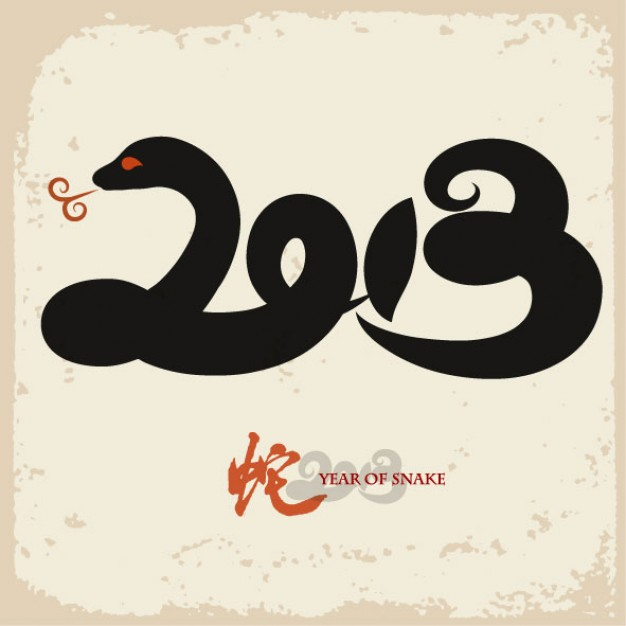 Greeting card year of the snake creative background about chinese new year