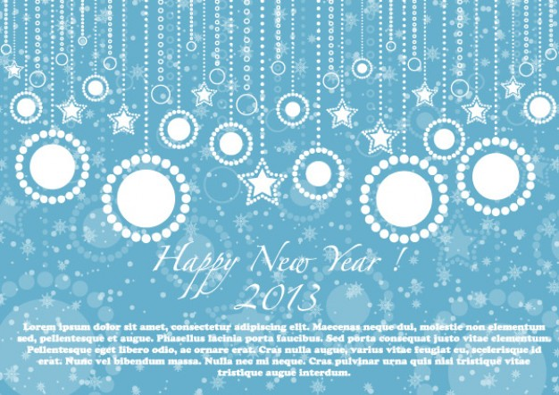 happy new year blue card illustration with snow dots and blue background