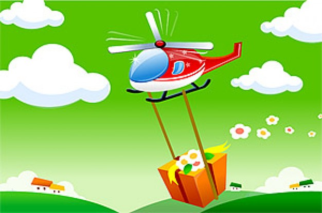 Helicopter cartoon Aviation helicopter material about gift box cloud