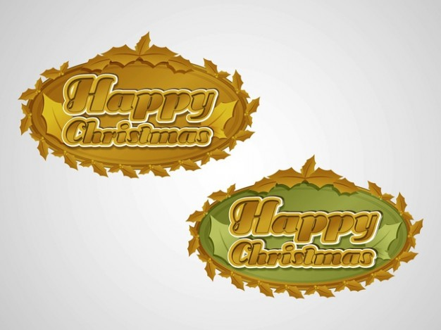 holiday greeting text in golden metal