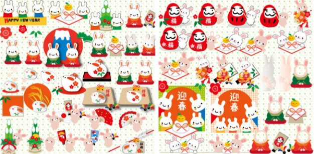 Holidays year Glade of the rabbit collection about Christmas elements