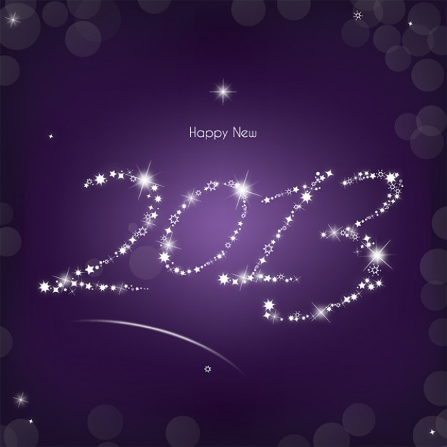 Mardi Gras 2013 Holiday year made with stars on a purple background about New Year card