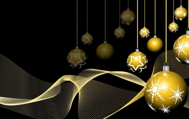 new year design eps illustrator with golden ball background