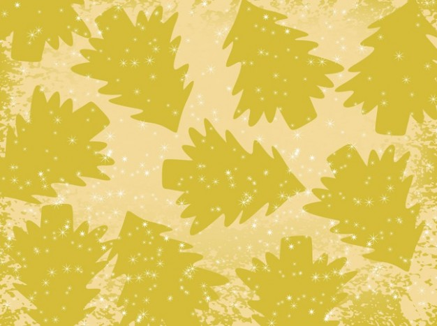 pattern of christmas golden trees in green yellow style