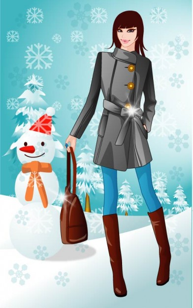 People winter Women about History Christmas background