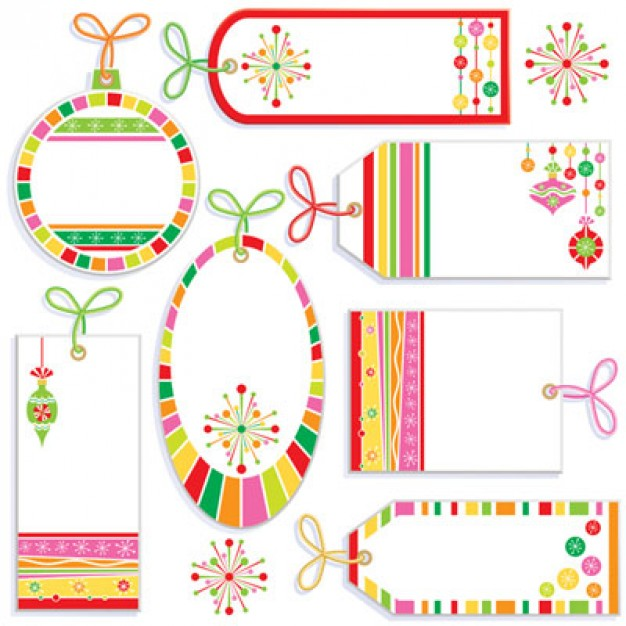 Pink cute Business label tag material about circle figure made of colorful line