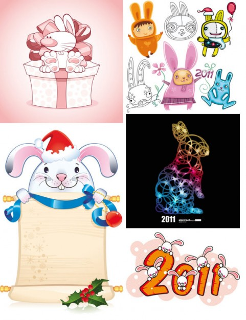 Rabbit Pets in different backgrounds and styles about new year style