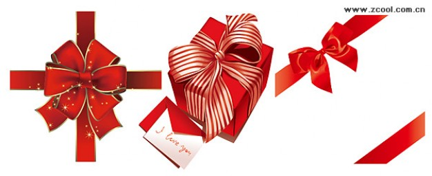 red Christmas gift ribbon bow material about Business Do it yourself