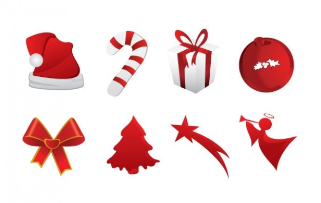 red christmas icons including hat tie gift box ball