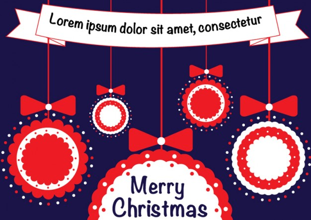 ribbons bows circles in christmas template with dark purple background