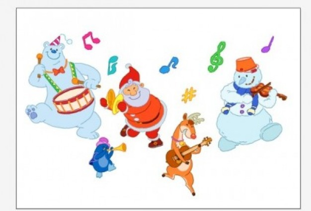 Santa Claus santa Christmas and bears playing instruments about Holidays snowman